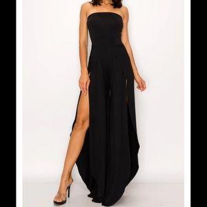 Strapless Black High Slit Jumpsuit